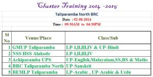 Cluster Tarining 2014-15 Blog Notice